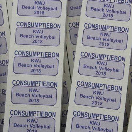 CombiCraft Consumptiebonnen met eigen tekst in het zwart gedrukt op licht grijs papier per 1000 stuks