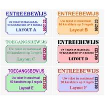 Genummerde Entreebewijzen met uw tekst op lichtgrijs papier
