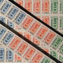 Euro-bonnen op strip met uw wensbedragen