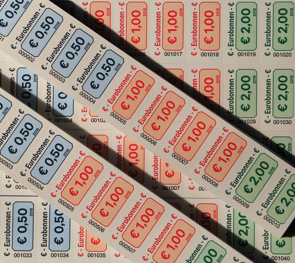 CombiCraft Euro-bonnen op strip met uw wensbedragen -  PRIJS PER 1000 STUKS VANAF: