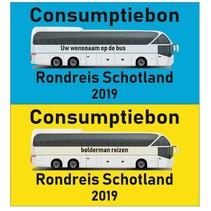 Busreis Consumptiebon op gekleurd papier