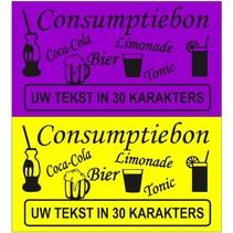 Consumptiebonnen met tekst gekleurd