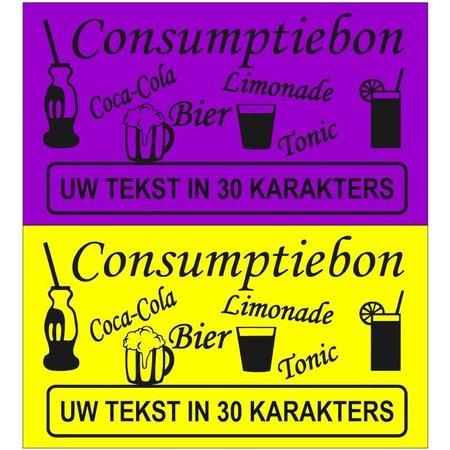 CombiCraft Consumptiebonnen met eigen tekst in het zwart gedrukt op gekleurd papier per 1000 stuks