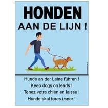 Honden aan de lijn (5-talig) bord