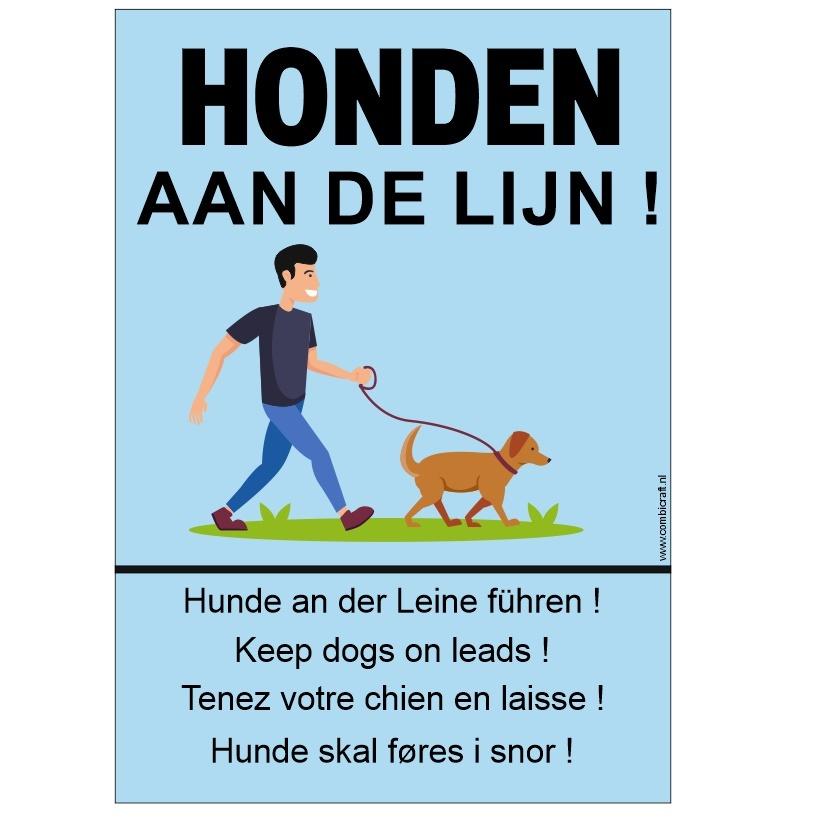 CombiCraft Bordje - Honden aan de lijn in 5 talen, prijs per stuk vanaf