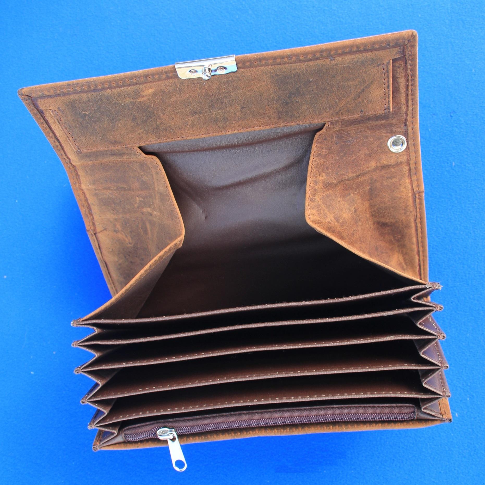 CombiCraft Kelnerbeurs 175 x 90 mm van Echt BUFFEL-leer  (Natuur gedroogd) - Grove structuur, prijs per stuk vanaf: