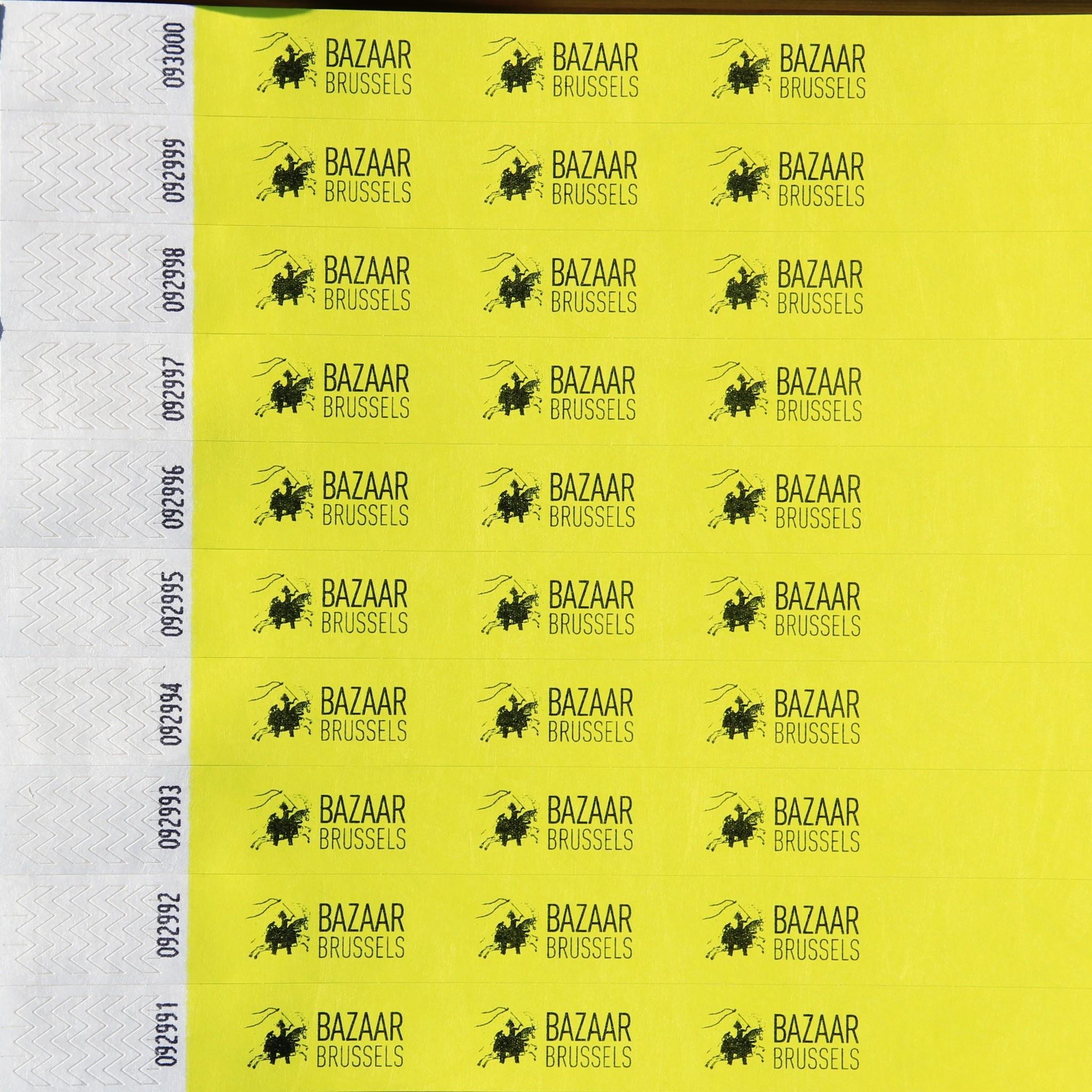 TYVEK® 1000 Tyvek Polsbandjes met uw  identieke tekst of logo in het zwart gedrukt, prijs per 1000 stuks vanaf: