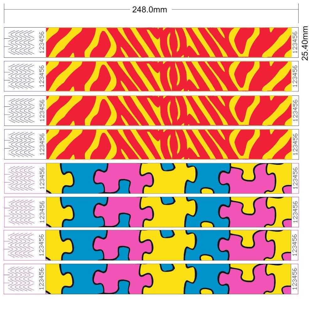 CombiCraft Goedkope Tyvek Actie-Polsbandjes in Zebra- of Puzzle-motieven - prijs per 100 bandjes vanaf: