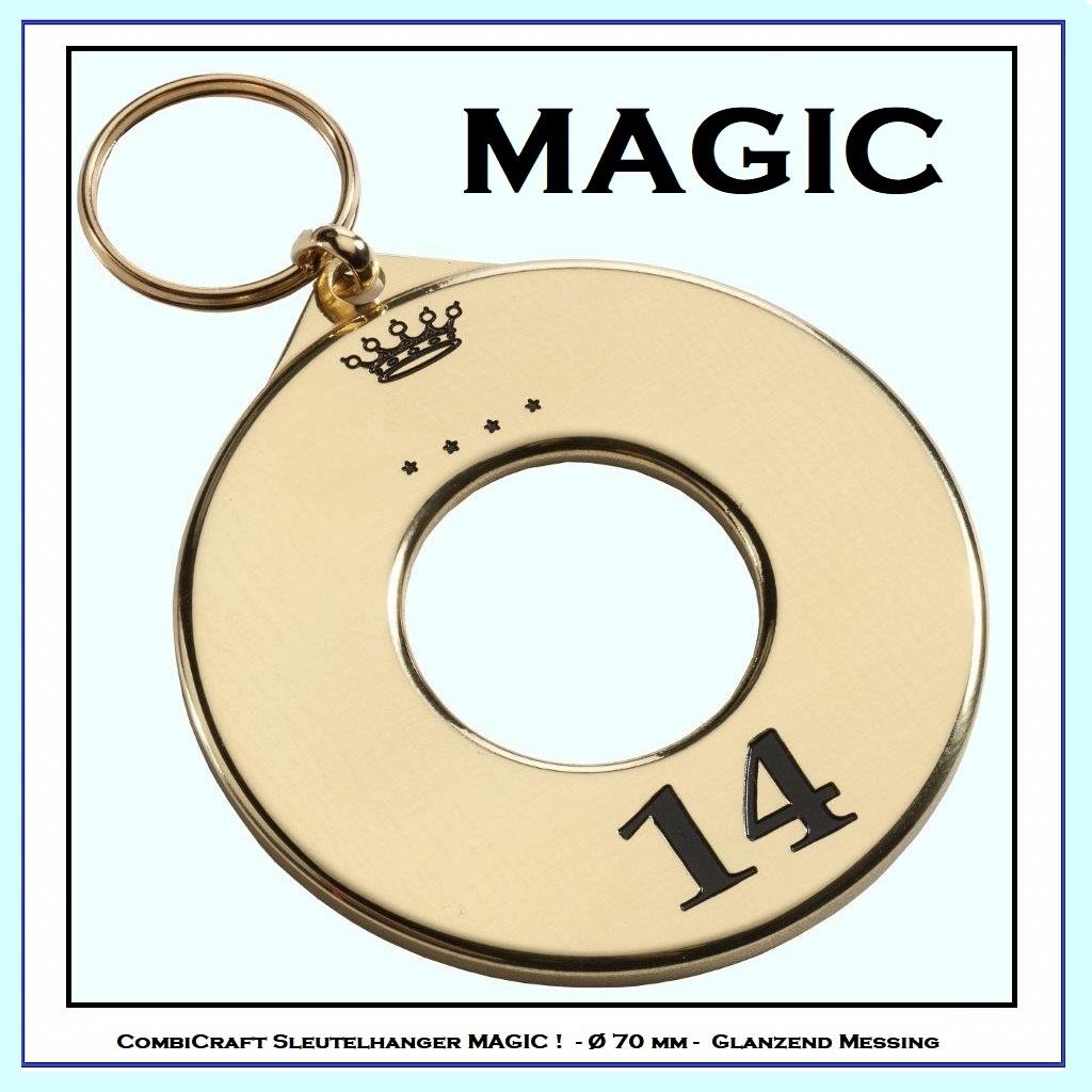 CombiCraft Mooi glanzende Messing Hotelsleutelhanger MAGIC met splitring,  prijs per stuk vanaf: