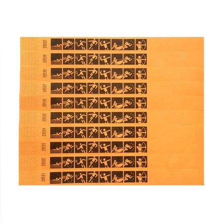 TYVEK® 100 oranje sport-polsbandjes origineel TYVEK©  standaard bedrukt , prijs per stuk vanaf: