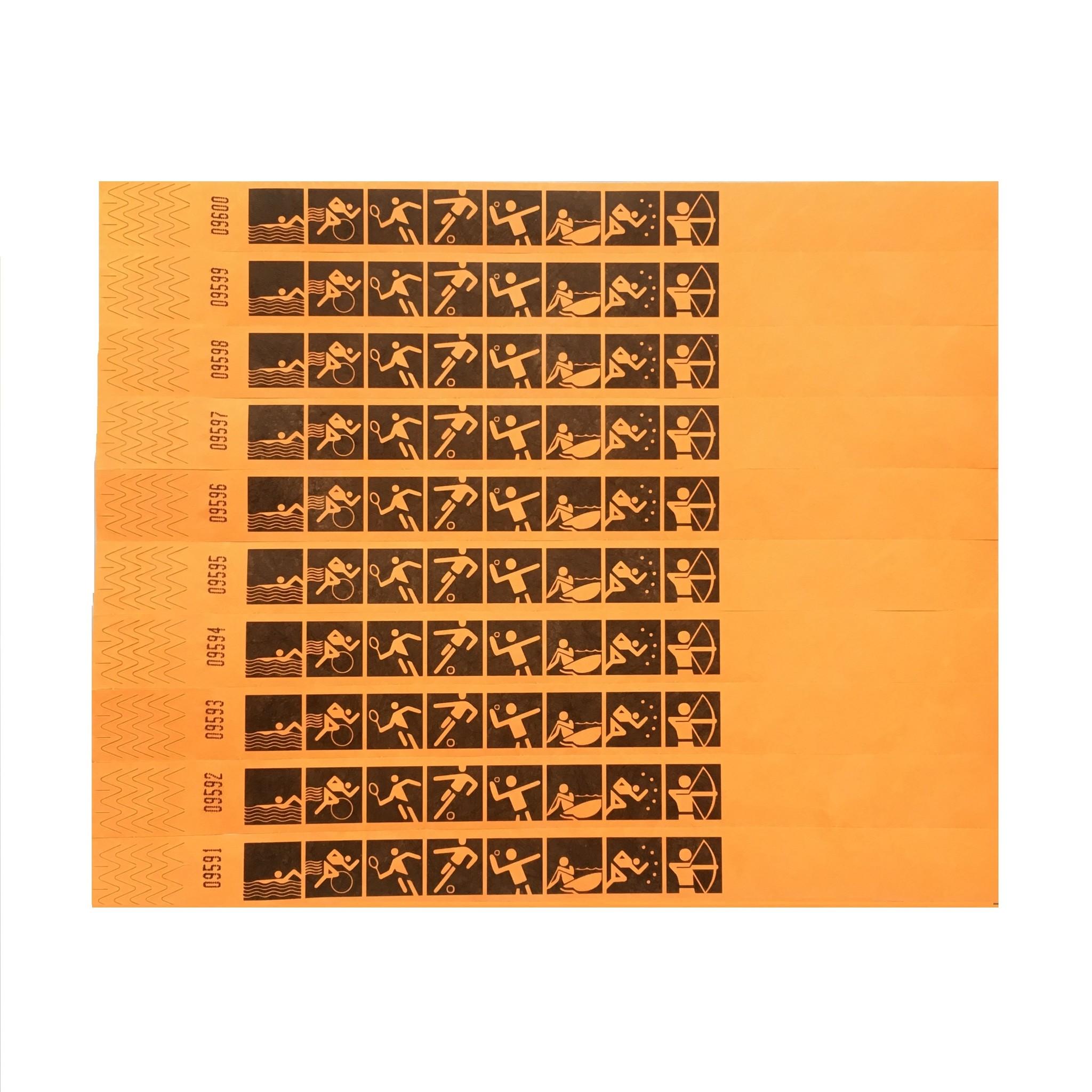 TYVEK® 100 oranje sport-polsbandjes origineel TYVEK®  standaard bedrukt , prijs per stuk vanaf: