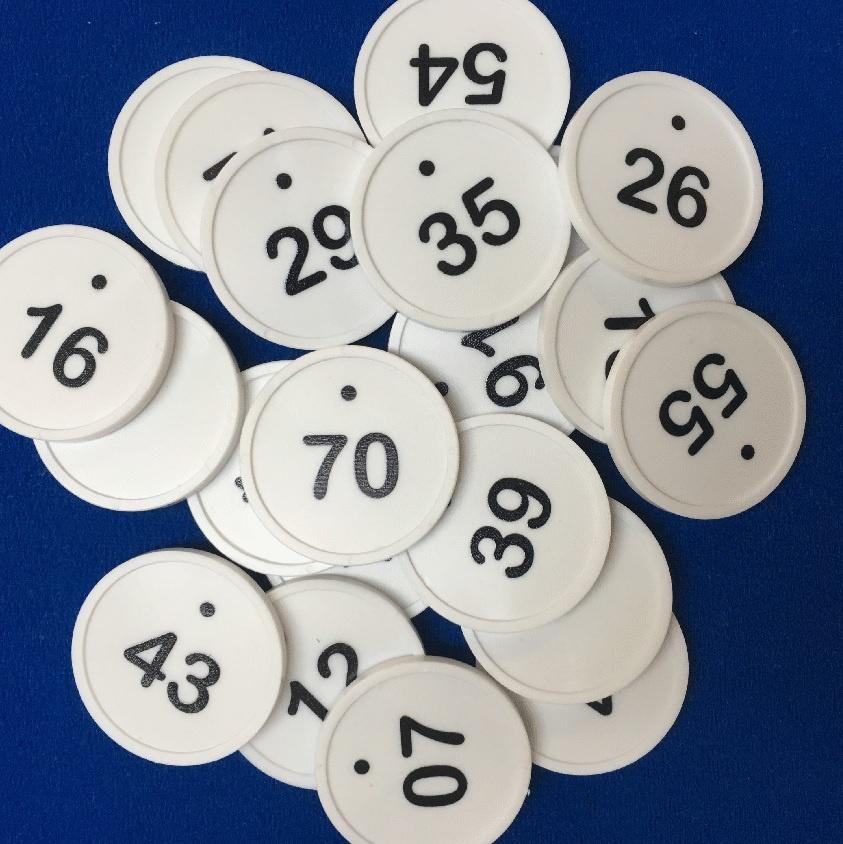 CombiCraft Genummerde Ø29 mm munten met stip in verschillende reeksen verkrijgbaar