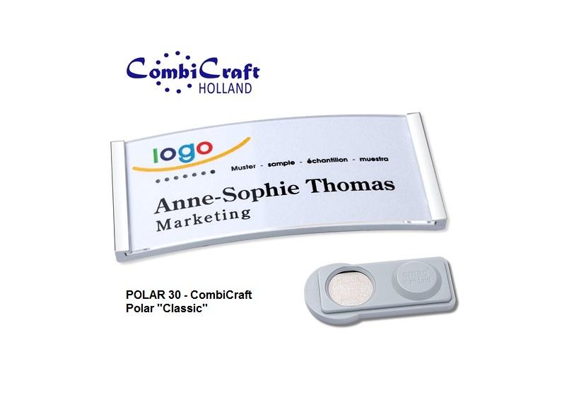 CombiCraft Polar ® 30 Metallic Naambadges Classic 70x30mm, voorzien van een SMAG ® magneet, prijs per stuk vanaf: