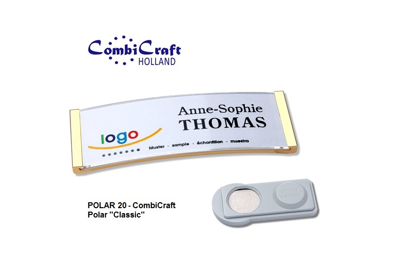 CombiCraft Polar ® 20 Metallic Naambadges Classic 68x22mm, voorzien van een SMAG ® magneet, prijs per stuk vanaf: