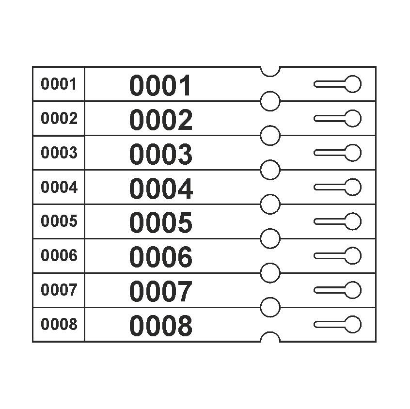 CombiCraft Sleufetiket 250x25mm - Standaard model voorzien van nummering, Prijs per 200 stuks vanaf: