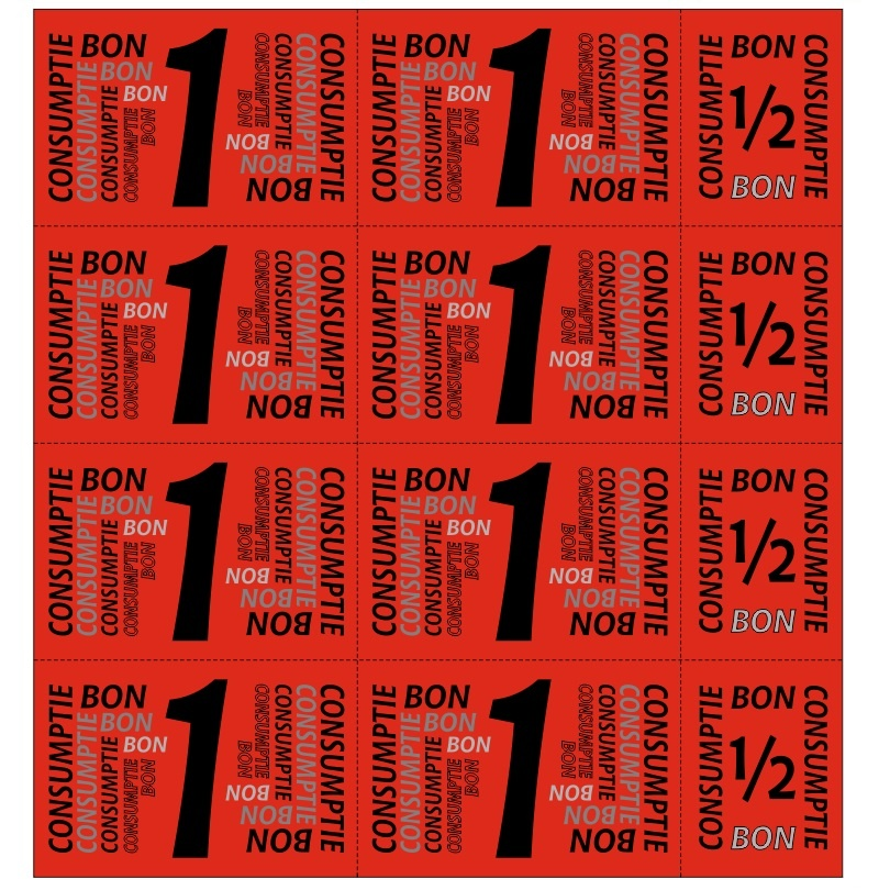 CombiCraft Eigen ontwerp Consumptiekaart met 8 hele en 4 halve bonnen in 8 kleuren, prijs per kaart vanaf: