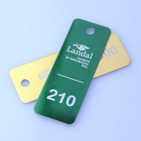 CombiCraft Aluminium Sleutellabel 70x25 mm met jouw logo en nummering
