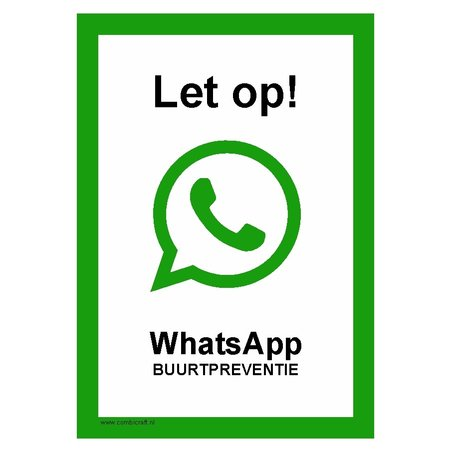CombiCraft Bordje - Whatsapp buurtpreventie 21x30cm
