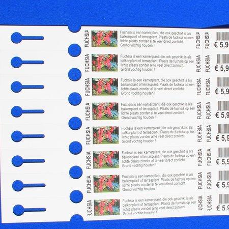 CombiCraft Sleufetiketten met afscheurstrookje eigen bedrukking 250x25mm met 8 etiketten per vel - 200 stuks
