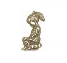 """CombiCraft Gegoten Toiletbordje """"Meisje op potje"""" in goudkleurig of zilverkleurig messing"""