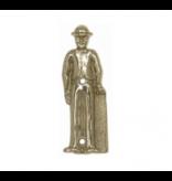 """CombiCraft Gegoten toiletbordje """"Man met bolhoed"""" in goudkleurig messing of zilverkleurig messing"""