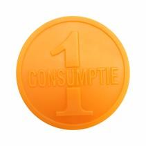 Consumptiemunten oranje 1000 stuks