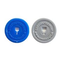 Plastic munten met wijnglas gat 1000 stuks