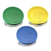 Plastic reliëfmunten met eurobedrag 1000 stuks