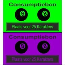 Consumptiebon 'Biljarten' met uw eigen tekst  op gekleurd papier