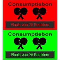 Consumptiebon 'Tafeltennis' met uw eigen tekst  op gekleurd papier