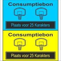 Consumptiebon 'Basketbal' met uw eigen tekst  op gekleurd papier
