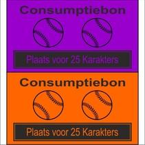 Consumptiebon 'Honkbal' met uw eigen tekst  op gekleurd papier
