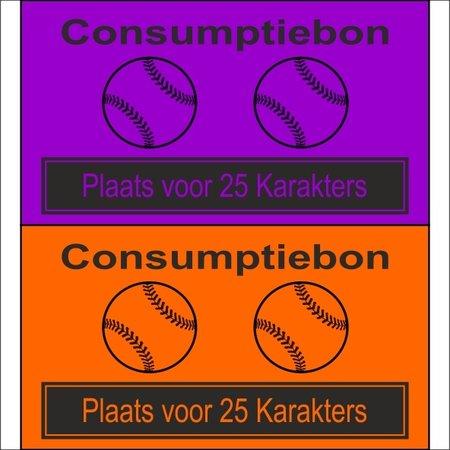CombiCraft Consumptiebon 'Honkbal' op gekleurd papier met uw eigen tekst - Prijs per 1000 stuks vanaf: