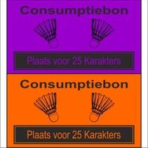 Consumptiebon 'Badminton' met uw eigen tekst  op gekleurd papier