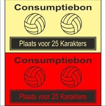 Consumptiebon 'Volleybal' met uw eigen tekst  op gekleurd papier