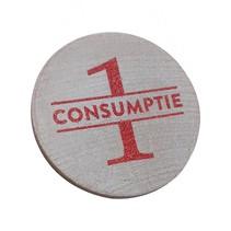 Houten consumptiemunt 1 stuks