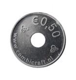CombiCraft Testmunt aluminium winkelwagenmunt of lockermunt €0,50 formaat