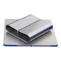 Zilverkleurige RVS Kaartklem  op zware voet, waait niet weg