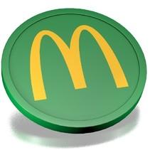 Plastic munten bedrukt met één kleur