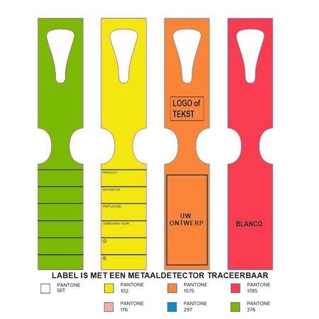 CombiCraft Sleufetiketten voor gebruik in de voedingsindustrie, labels zijn middels metaaldetectie te traceren.