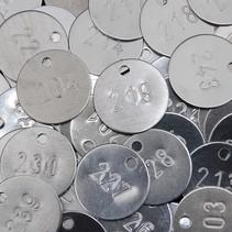 Sleutellabels blank aluminium met nummerinslag