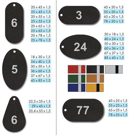 CombiCraft Sleutellabels aluminium in diverse afmetingen en kleuren