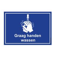 Graag handen wassen bord