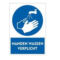 Handen wassen verplicht bord