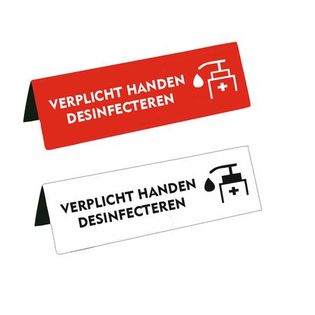 CombiCraft Kunststof Tafelbordje Verplicht handen desinfecteren in verschillende afmetingen
