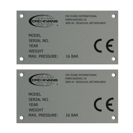 CombiCraft Aluminium industrieplaatje - Typeplaatje