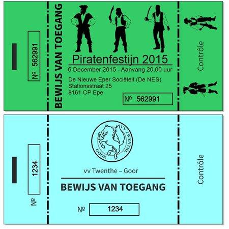 CombiCraft Entreebewijzen Eigen ontwerp Zwart gedrukt op gekleurd papier met nummering en controlestrook 120x60mm