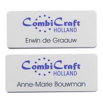 """Witte naambadge """"Edelweiss"""" met een full Colour logo"""