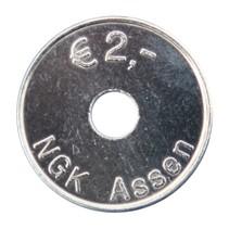 Aluminium slagmunten met een gat