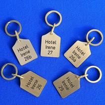 Sleutellabels messing Hotel Irene